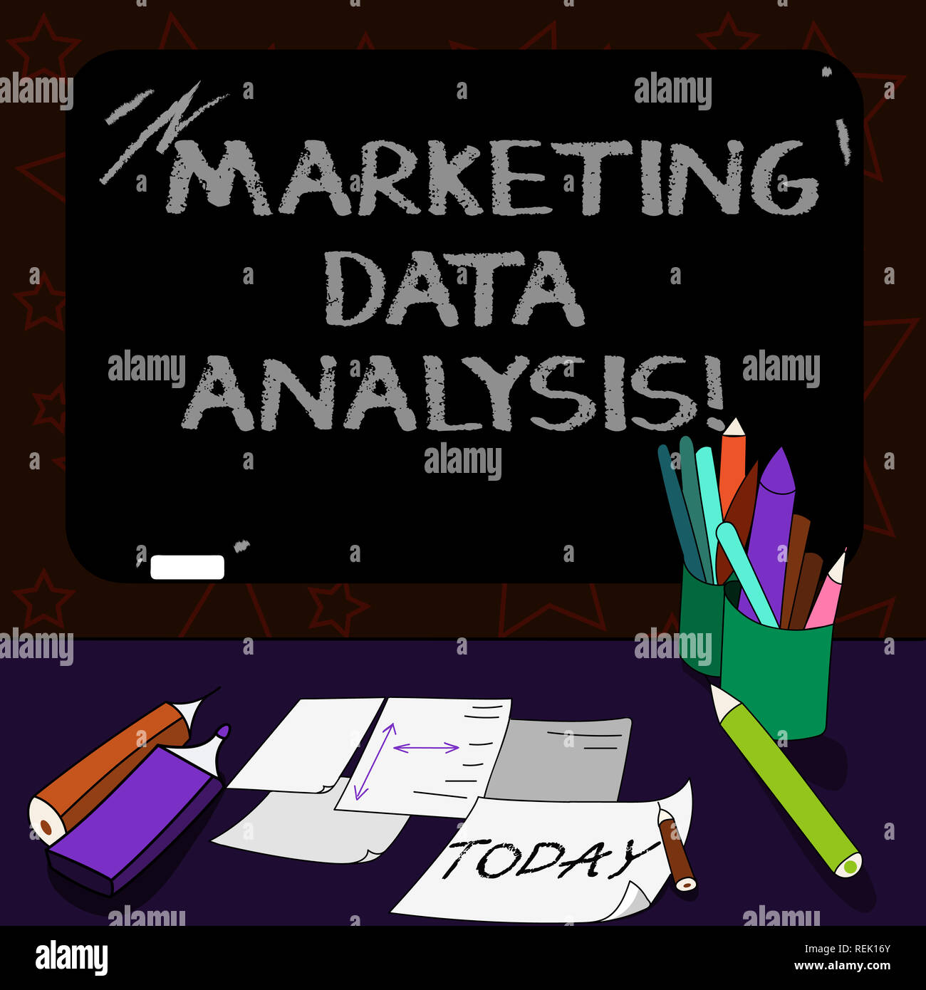 Writing note showing Marketing Data Analysis. Business photo showcasing Collecting data, scrutinized and make a conclusion Mounted Blackboard with Cha - Stock Image