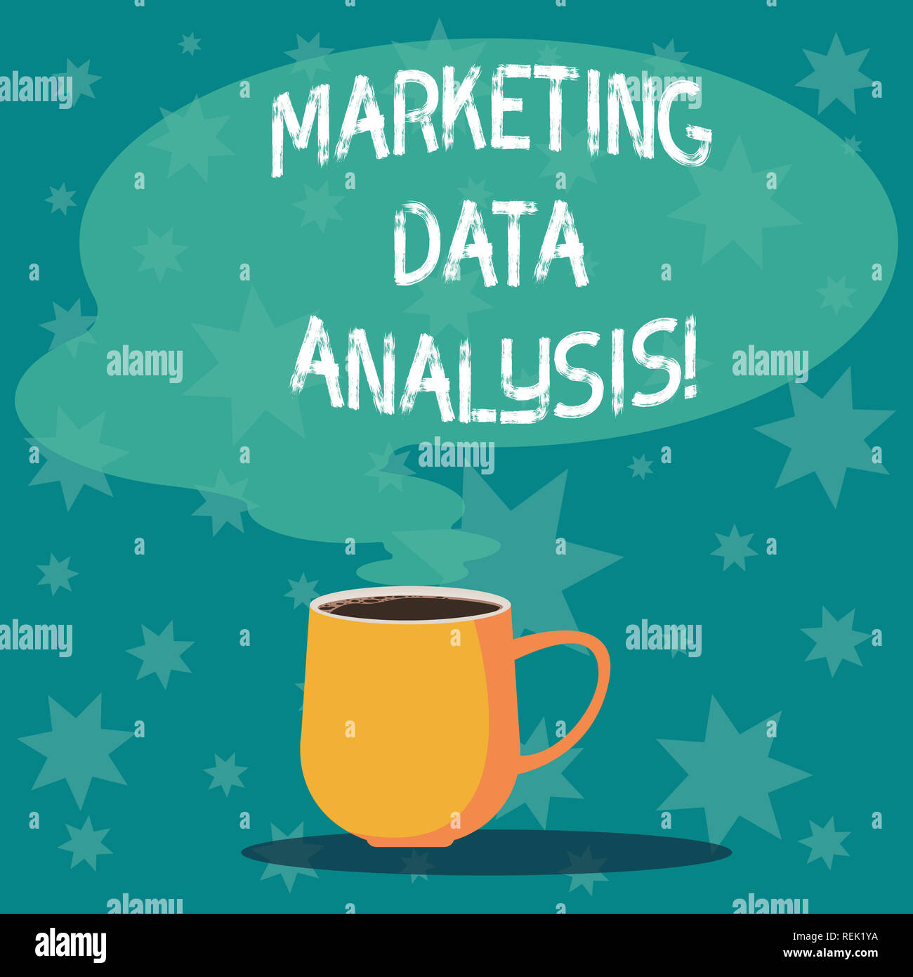 Handwriting text writing Marketing Data Analysis. Concept meaning Collecting data, scrutinized and make a conclusion Mug photo Cup of Hot Coffee with  - Stock Image