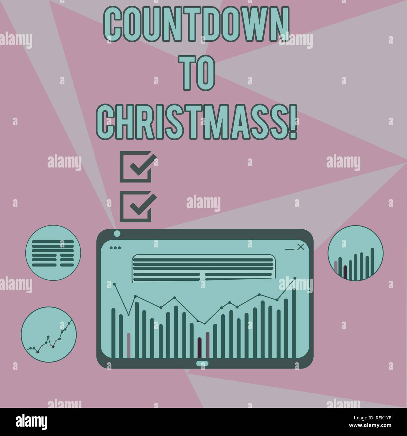 Writing note showing Countdown To Christmas. Business photo showcasing period of time leading up to a significant event Digital Combination of Column  - Stock Image