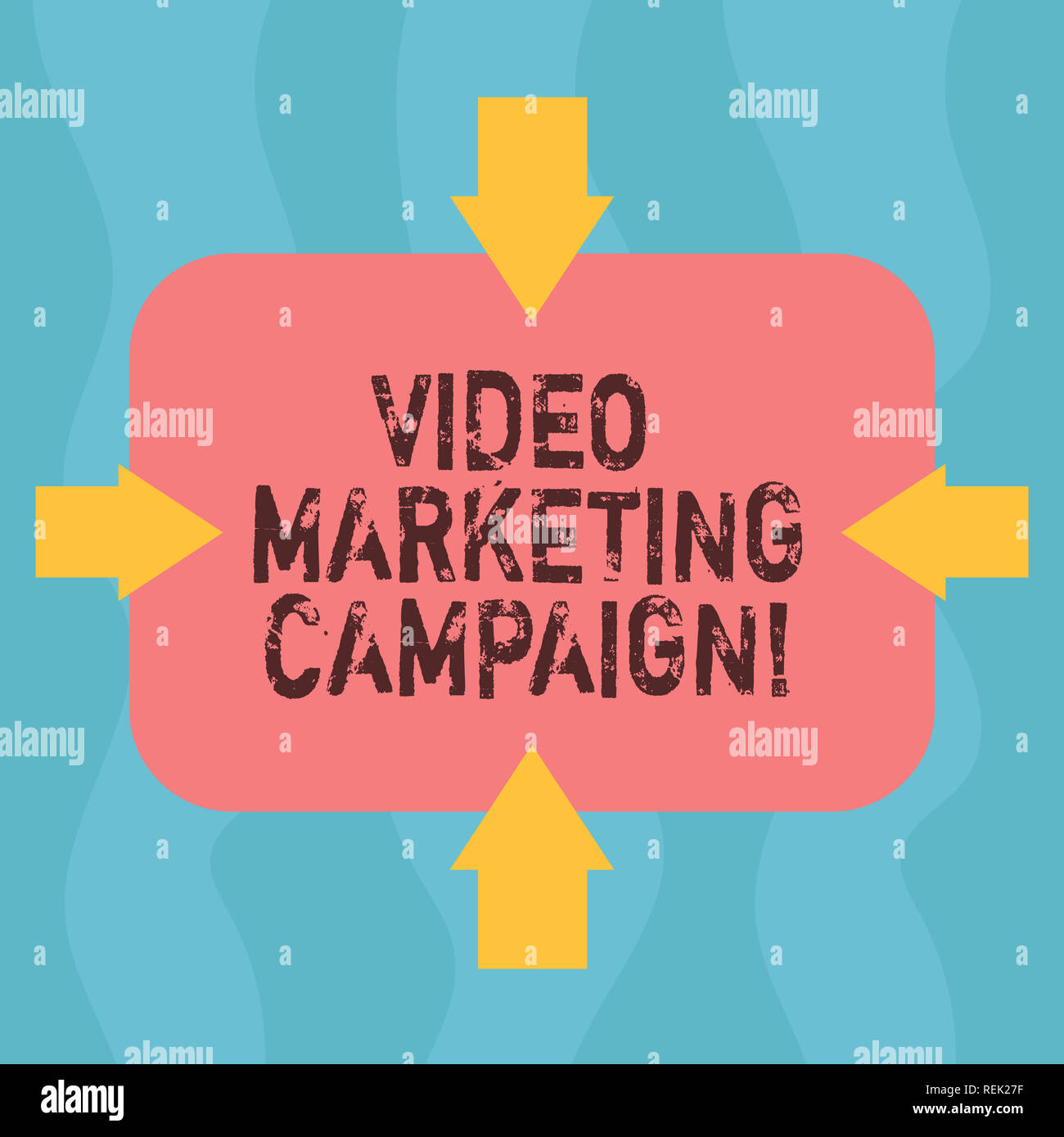 Conceptual hand writing showing Video Marketing Campaign. Business photo showcasing Assessing the benefit of digital campaign Arrows on Four Sides of  - Stock Image