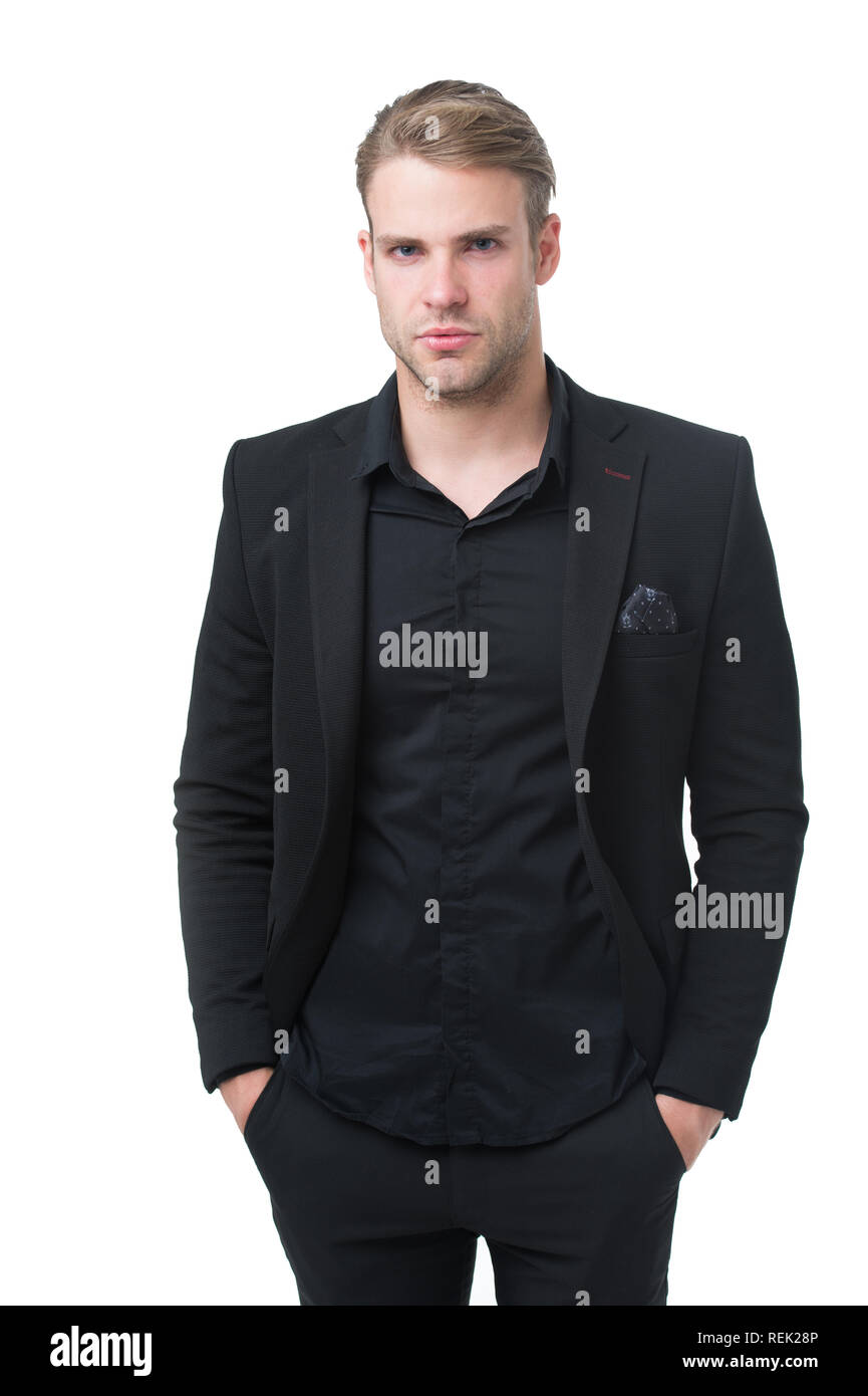 379be753a2 Rules for wearing all black clothing. Black fashion trend. Man elegant  manager wear black formal outfit on white background. Reasons black is the  only color ...