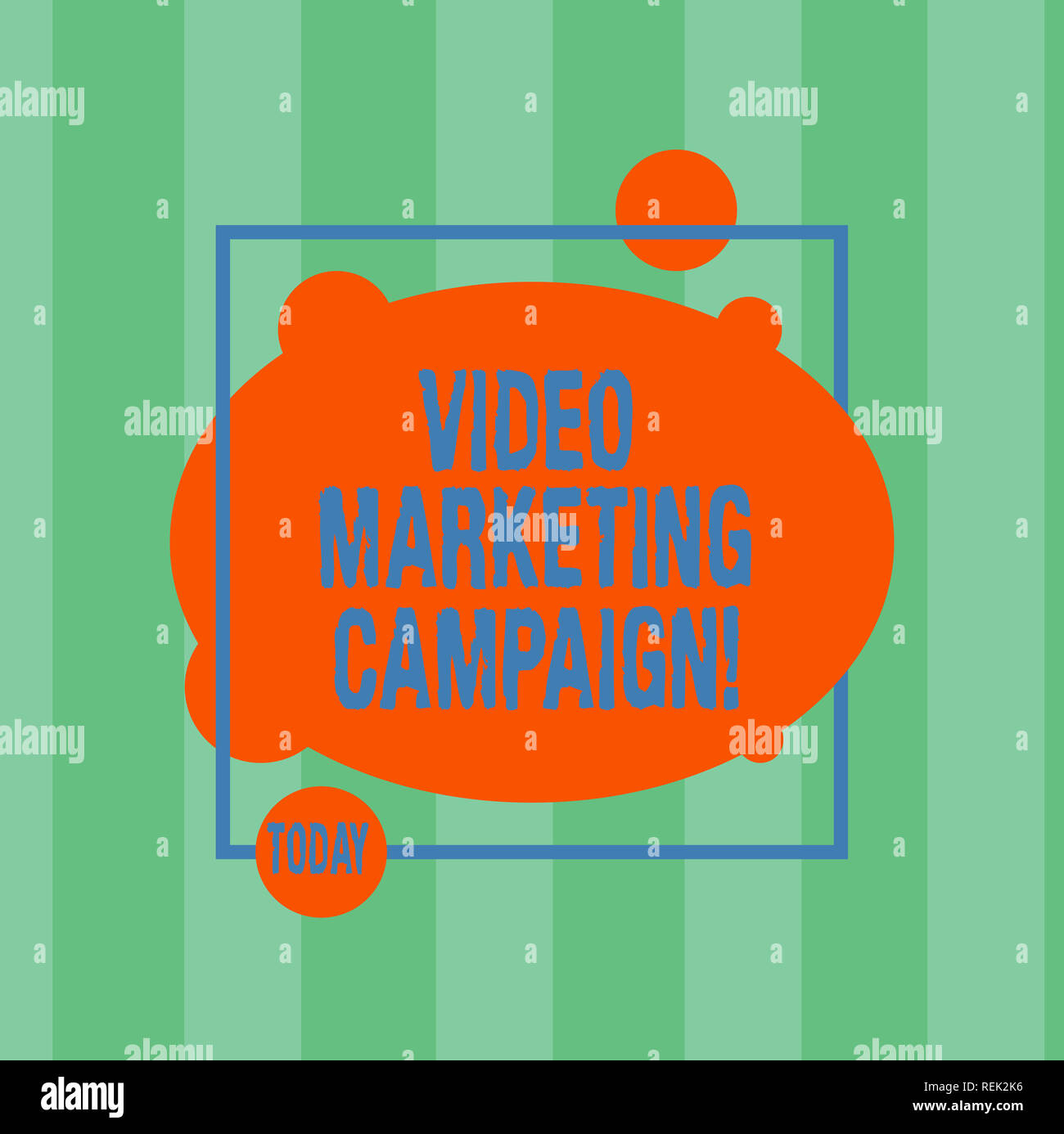 Writing note showing Video Marketing Campaign. Business photo showcasing Assessing the benefit of digital campaign Asymmetrical Blank Oval photo Abstr - Stock Image