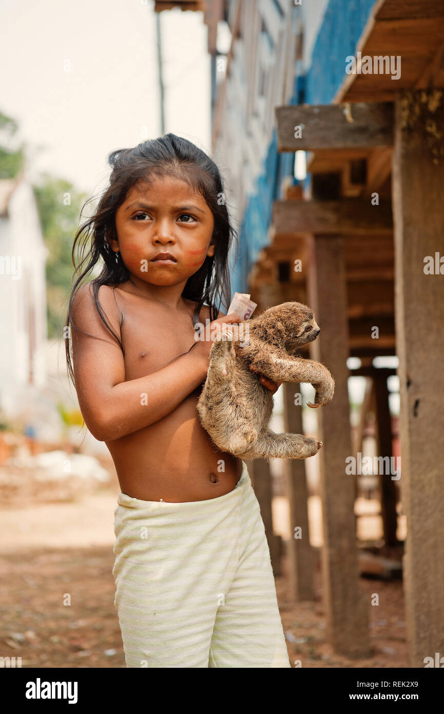 Boca de valeria, Brazil - December 03, 2015: girl child selling sloth in village. Earning money and lifestyle concept. Poverty and childhood - Stock Image