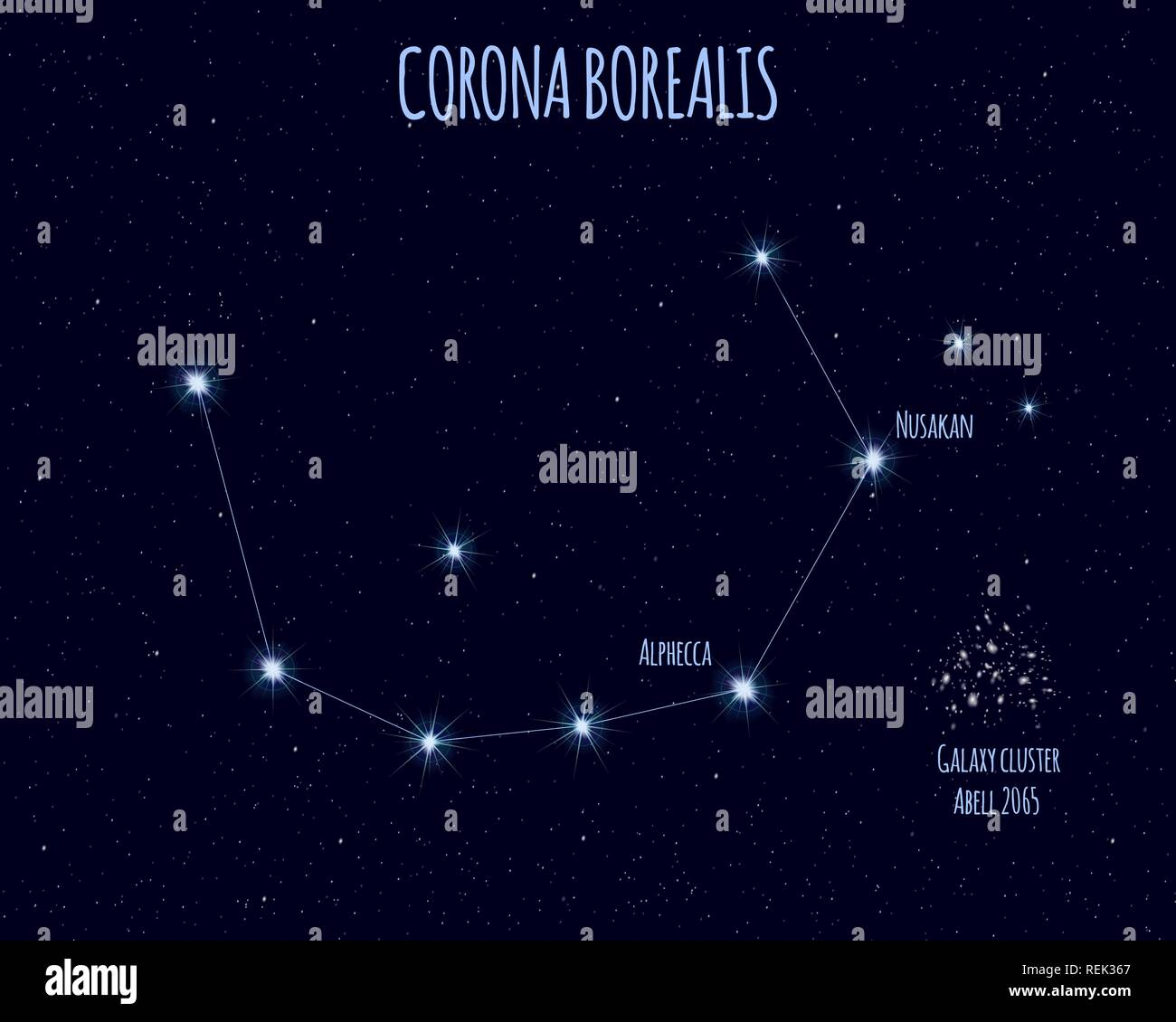 Corona Borealis Northern Crown Constellation Vector Illustration With The Names Of Basic Stars Against The Starry Sky Stock Vector Image Art Alamy