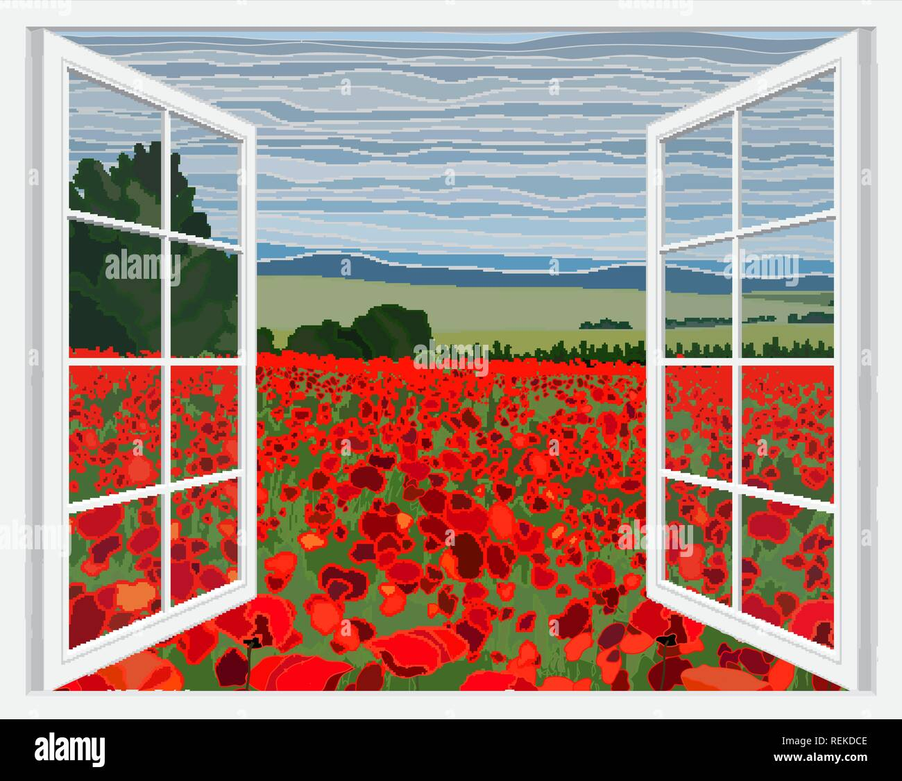 Bright poppy field with bushes vector illustration through open window - Stock Vector