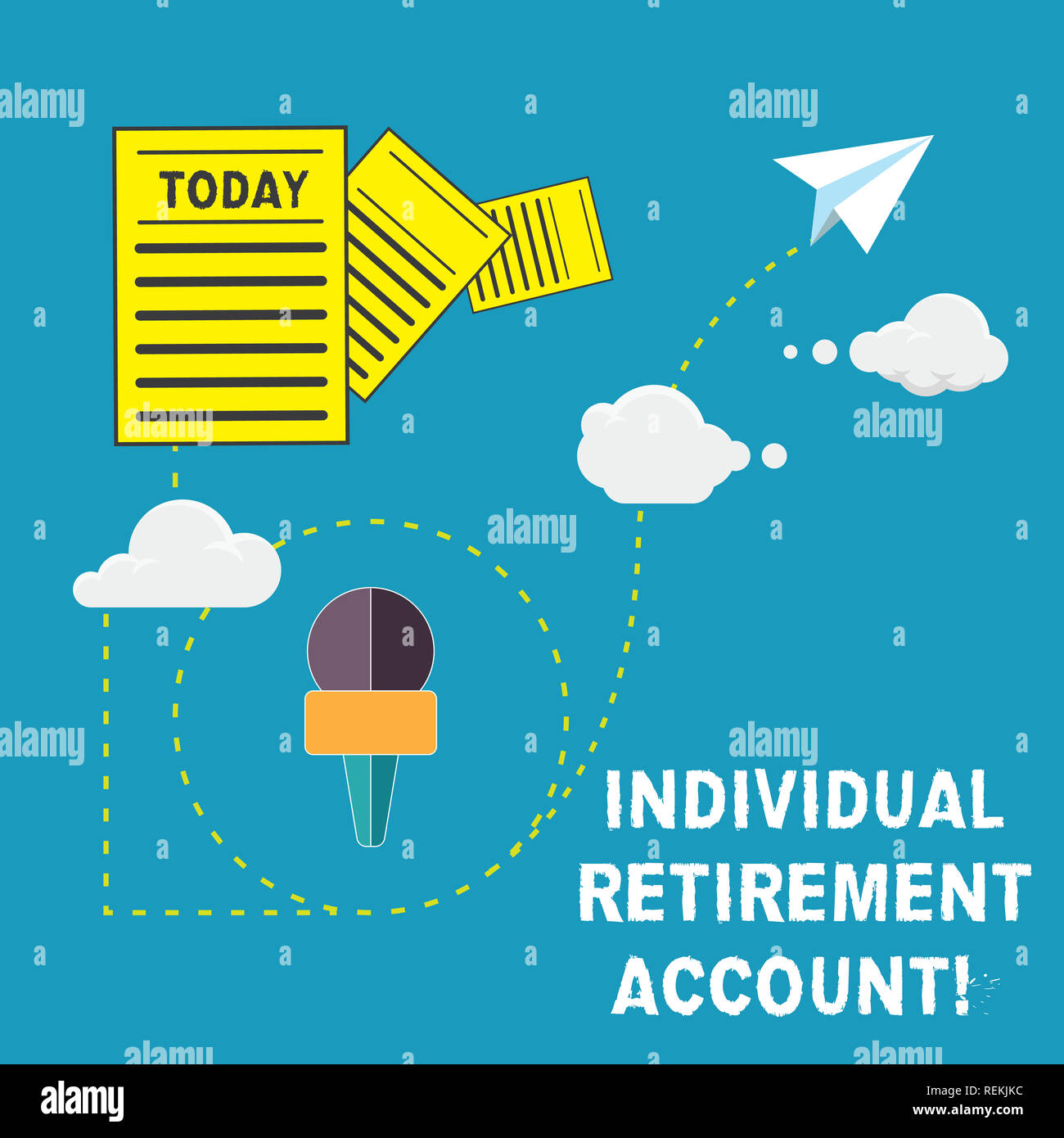 Handwriting text Individual Retirement Account. Concept meaning Invest and earmark funds for retirement Information and Documents Passing thru Cloud H Stock Photo