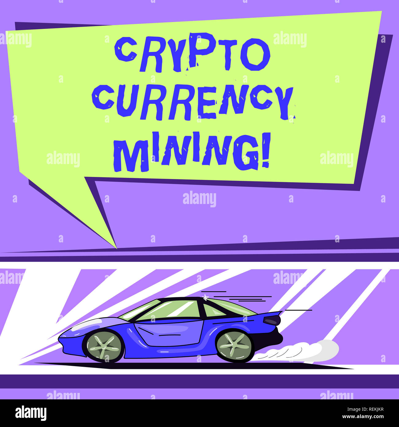 Word writing text Crypto Currency Mining. Business concept for recording transaction record in the blockchain system Car with Fast Movement icon and E - Stock Image
