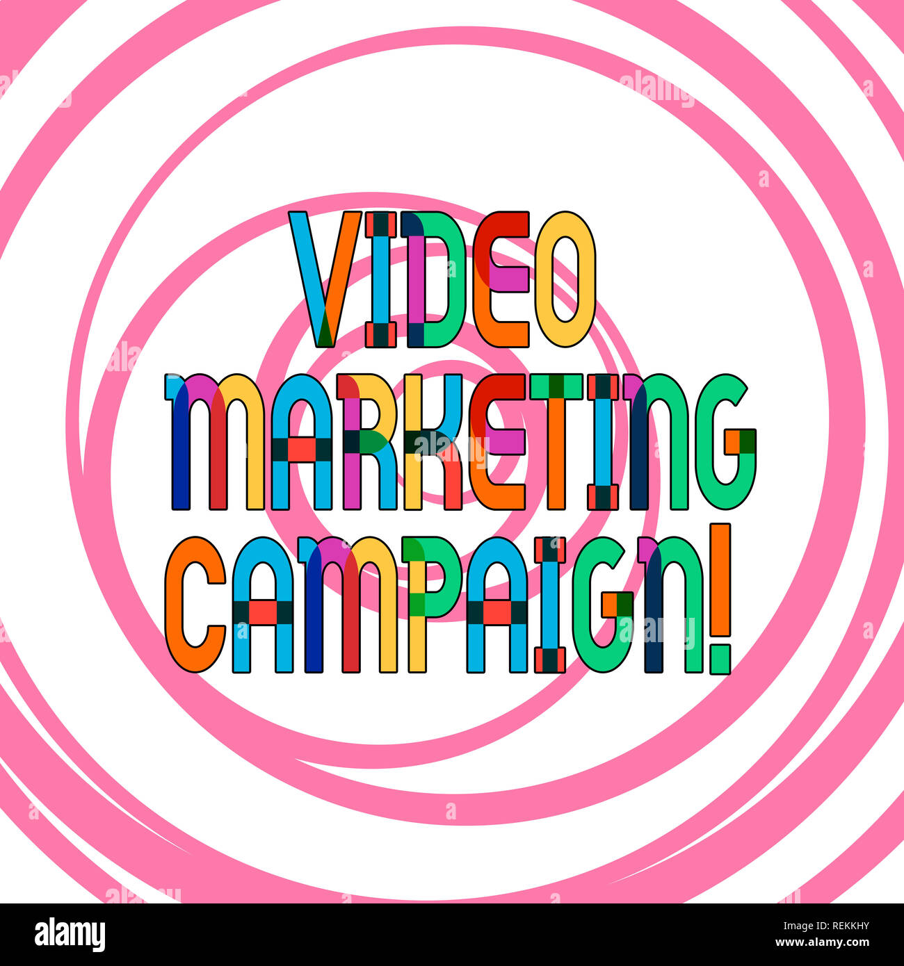 Conceptual hand writing showing Video Marketing Campaign. Business photo showcasing Assessing the benefit of digital campaign Multiple Layers of Circl - Stock Image