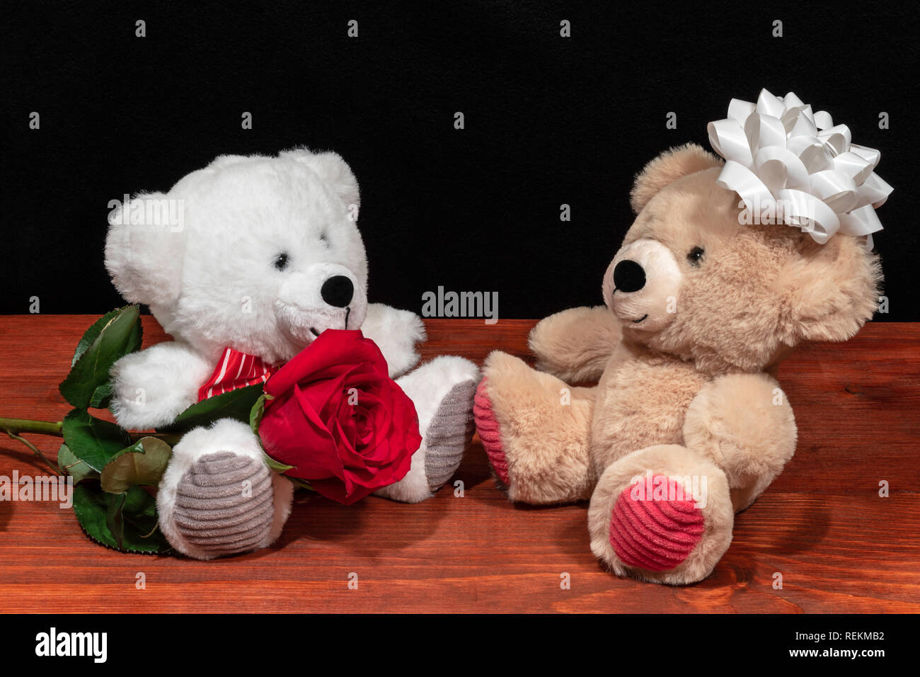 Two cute cuddly teddy bears with single red rose iand white bow on wooden table on dark background. Valentines, Mothers Day, Easter, Christmas, Weddin Stock Photo