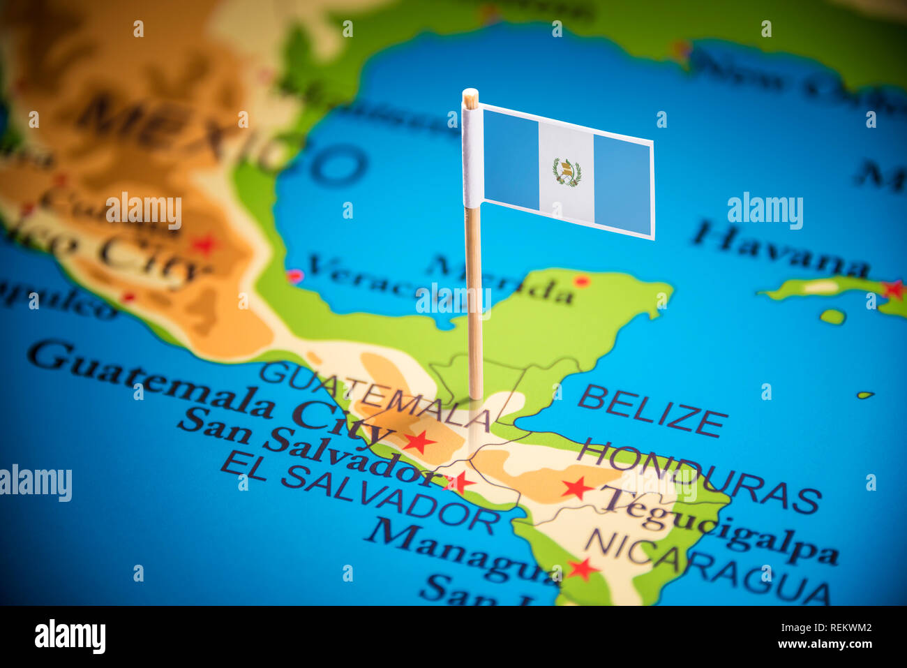 Guatemala marked with a flag on the map Stock Photo ...