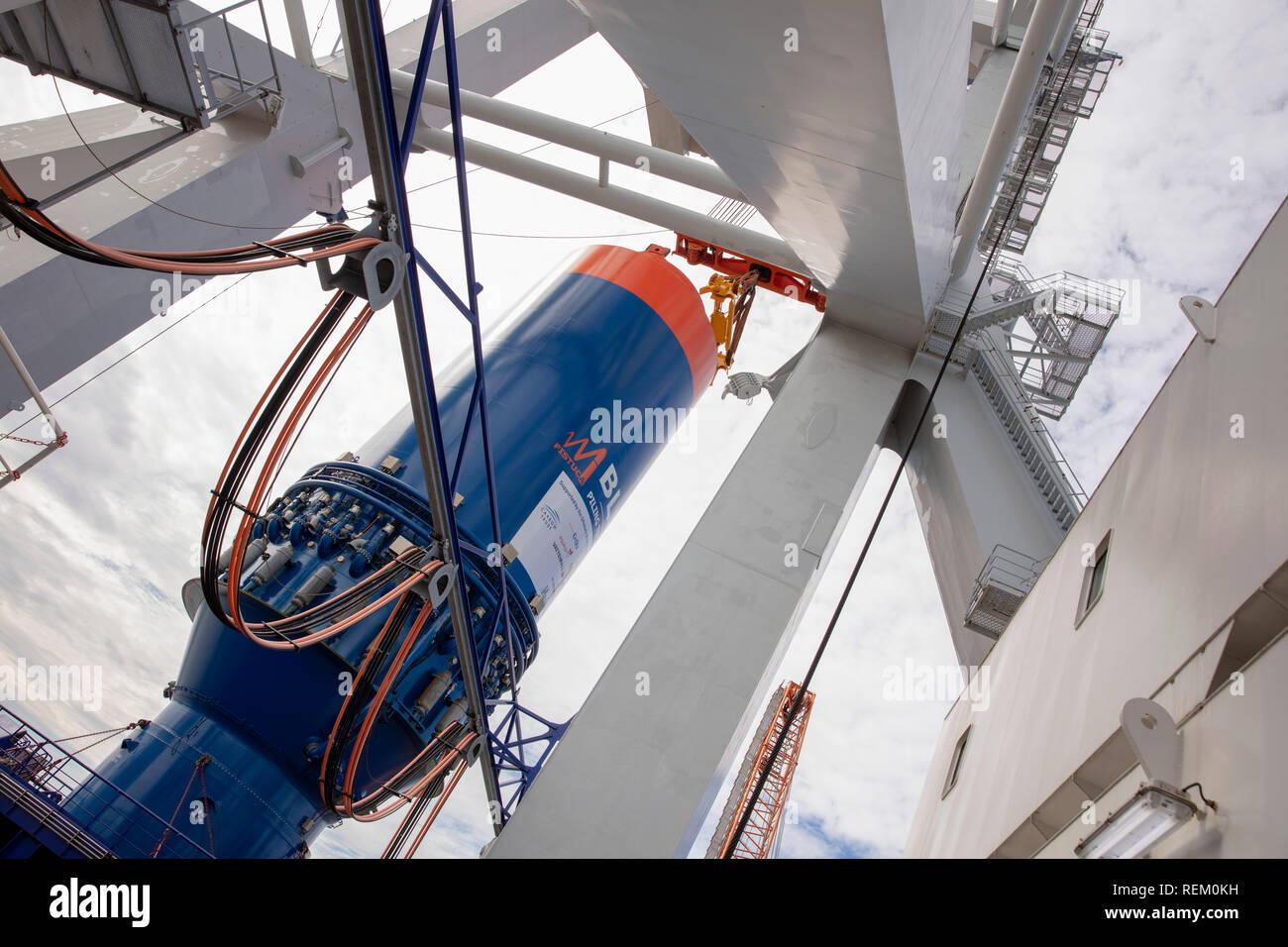 The Netherlands, Rotterdam, Port of Rotterdam, harbour. Van Oord international marine contractor. Heavy lift vessel Svanen. - Stock Image