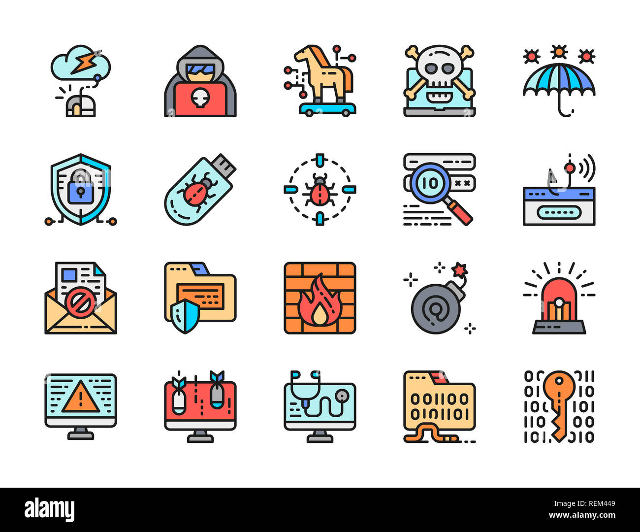 Set of hacking and cyber security flat color line icons. Hacker attack, spy agent, trojan horse, computer virus, phishing scam, cybercrime, antivirus. - Stock Image