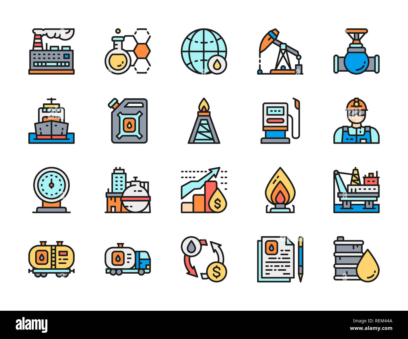 Set of oil and petrol industry flat color line icons. Fuel truck, petroleum wagon, pumping station, gas stove, factory, chemical plant, Stock Photo