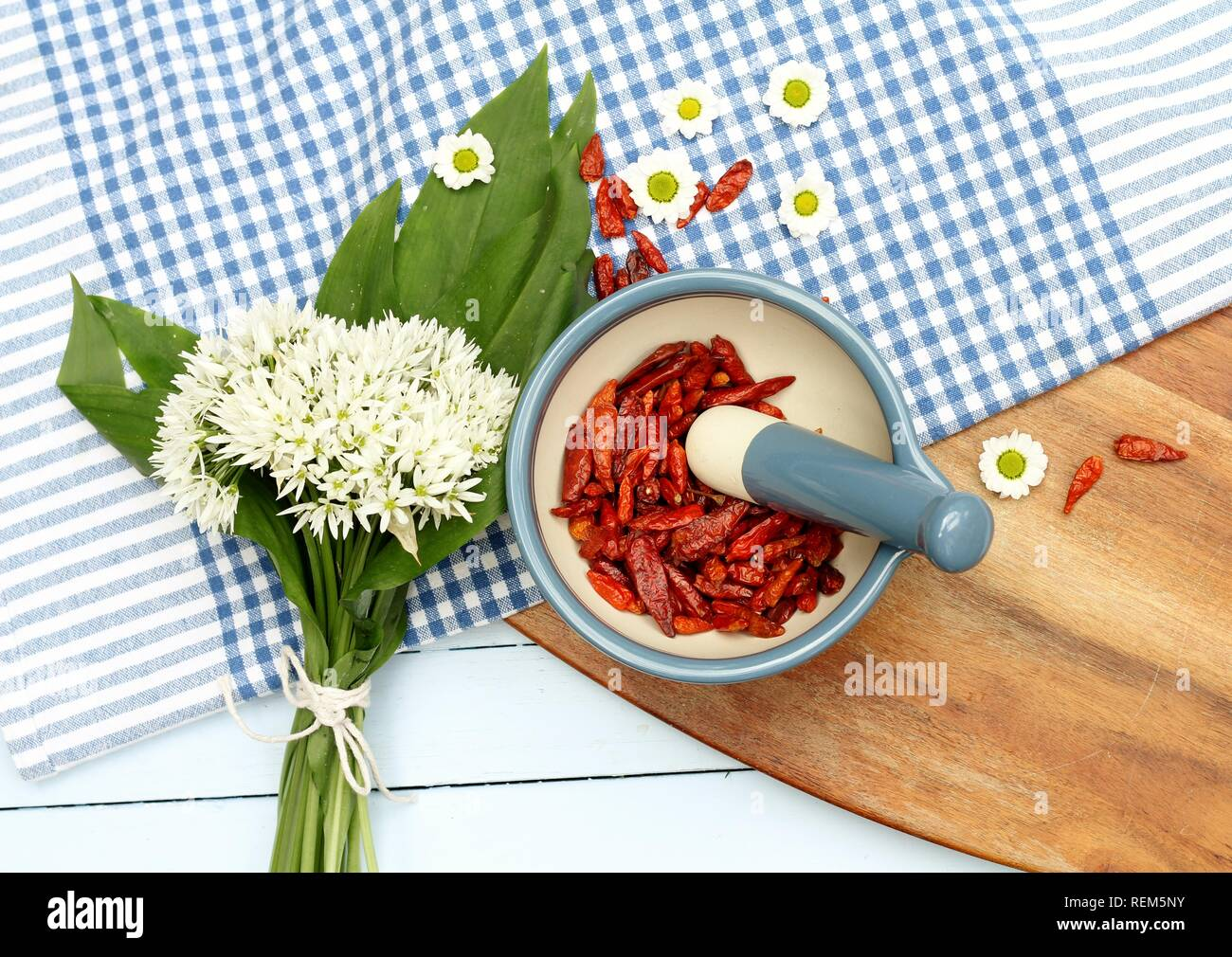 Wild Garlic And Red Dried Chilli Peppers In Kitchen Flat Lay Stock