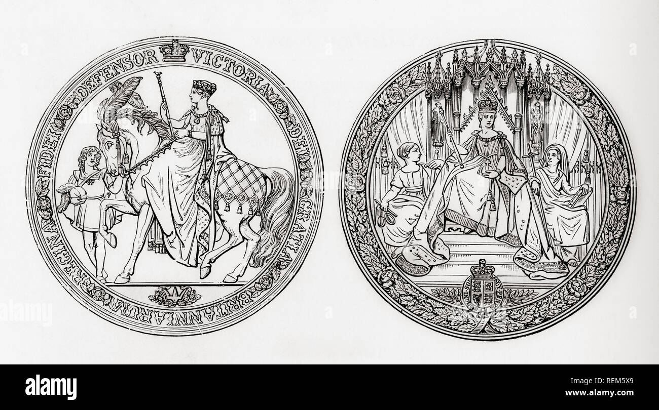 The Great Seal of Queen Victoria of England, bearing the inscription, VICTORIA DEI GRATIA BRITANNIARUM REGINA FIDEI DEFENSOR, Victoria, by the grace of God, Queen of the Britains, Defender of the Faith.  This seal  is used to symbolise the Sovereign's approval of important state documents. From London Pictures, published 1890 - Stock Image