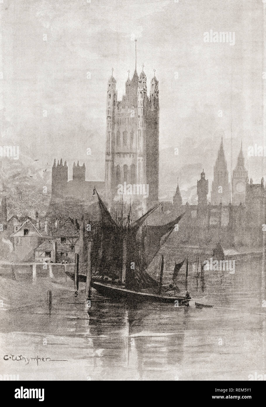 The New Palace of Westminster, City of Westminster, London, England, seen here after its reconstruction following the fire of 1834 which virtually destroyed the old palace.  From London Pictures, published 1890 - Stock Image