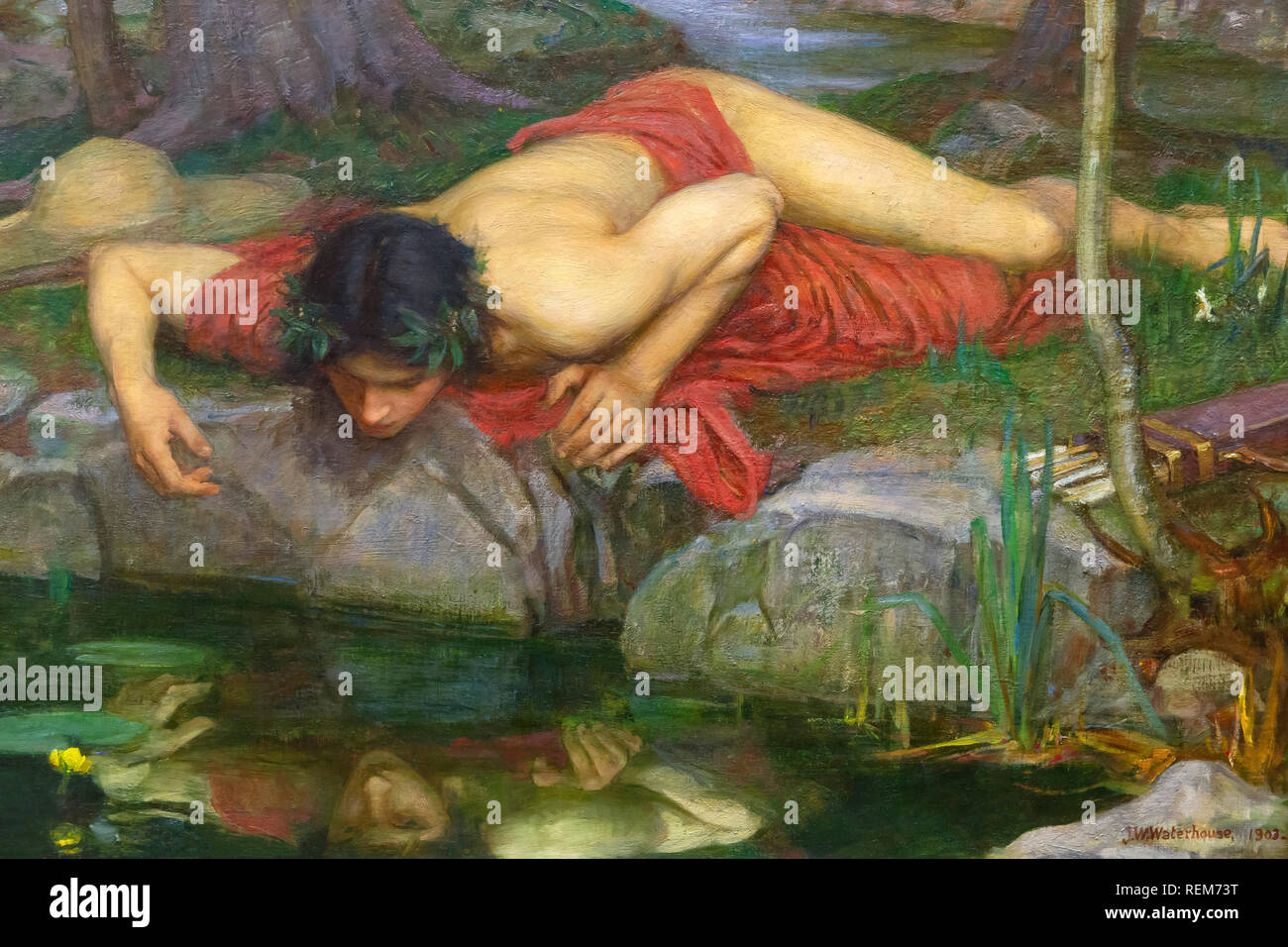 Narcissus, detail from Echo and Narcissus, John William Waterhouse, 1903, - Stock Image