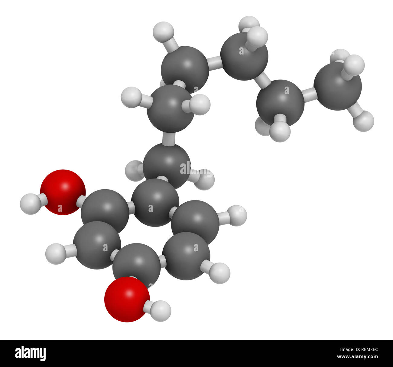 Hexylresorcinol molecule. Has anaesthetic, antiseptic and anthelmintic properties. 3D rendering. Atoms are represented as spheres with conventional co - Stock Image