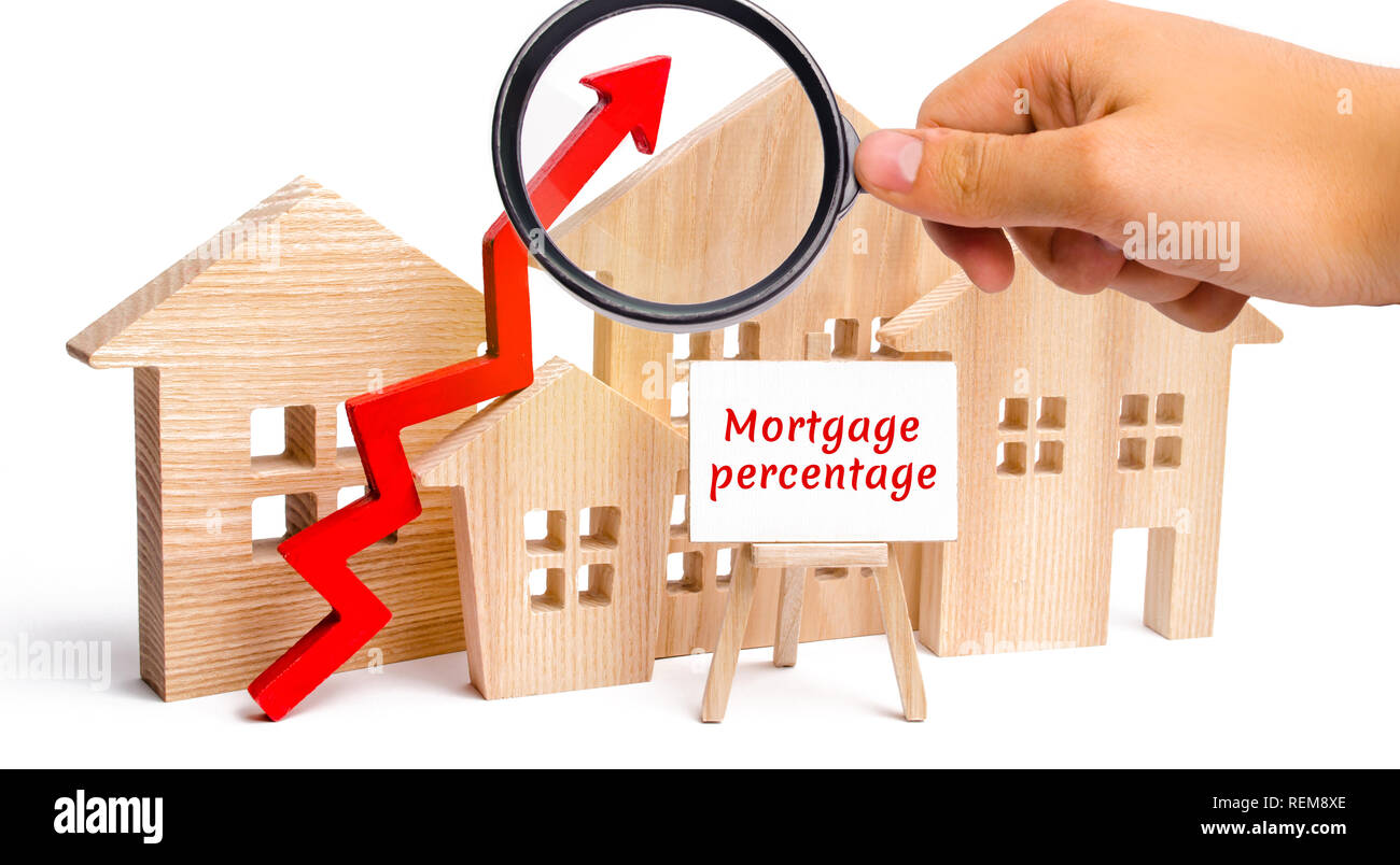 Wooden house and the inscription Mortgage percentage and up arrow. Raising mortgage rates and tax. The increase in interest charges. Reduced demand fo - Stock Image