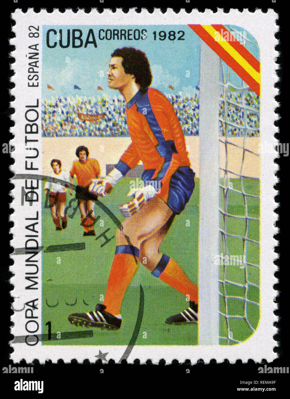 Postage stamp from Cuba in the FIFA World Cup. Spain-1982 series - Stock Image