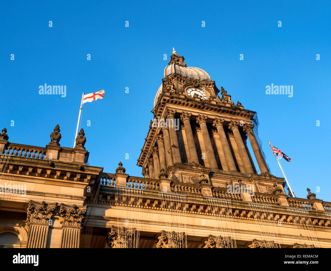 Fading winter afternoon light on the Town Hall in Leeds West Yorkshire England - Stock Image