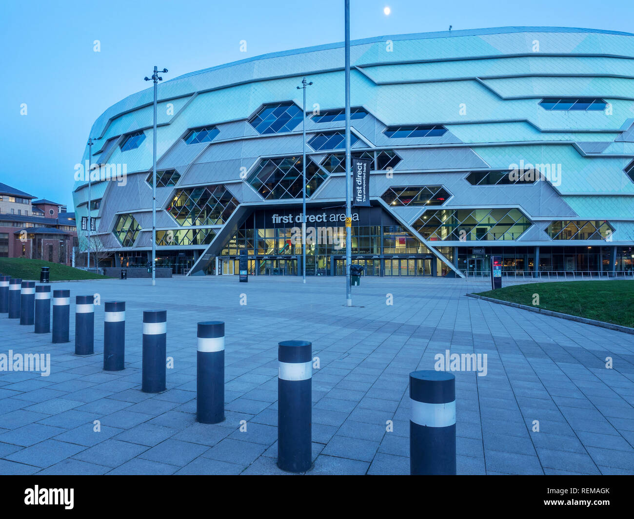 The First Direct Arena at dusk in Leeds West Yorkshire England - Stock Image