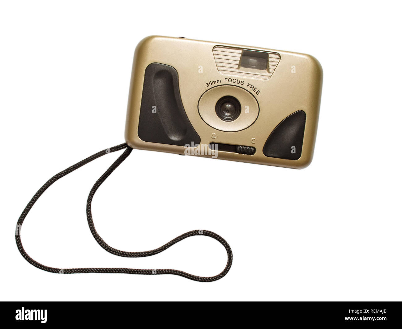 Point-and-shoot 90s retro style camera isolated on white background (front view) - Stock Image