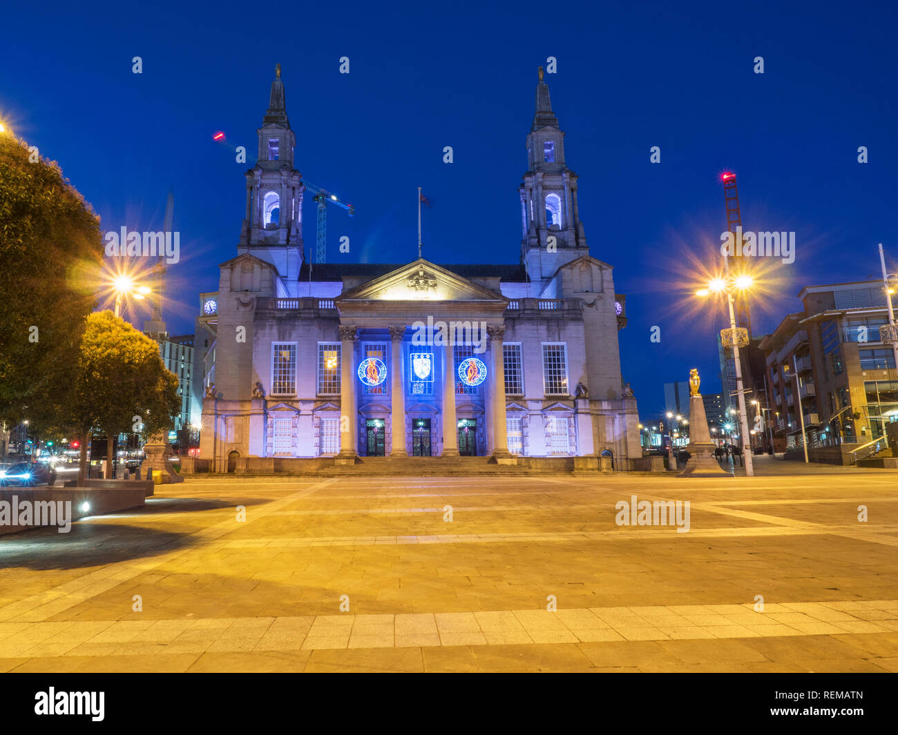 The Civic Hall in Millennium Square at Dusk Leeds West Yorkshire England - Stock Image