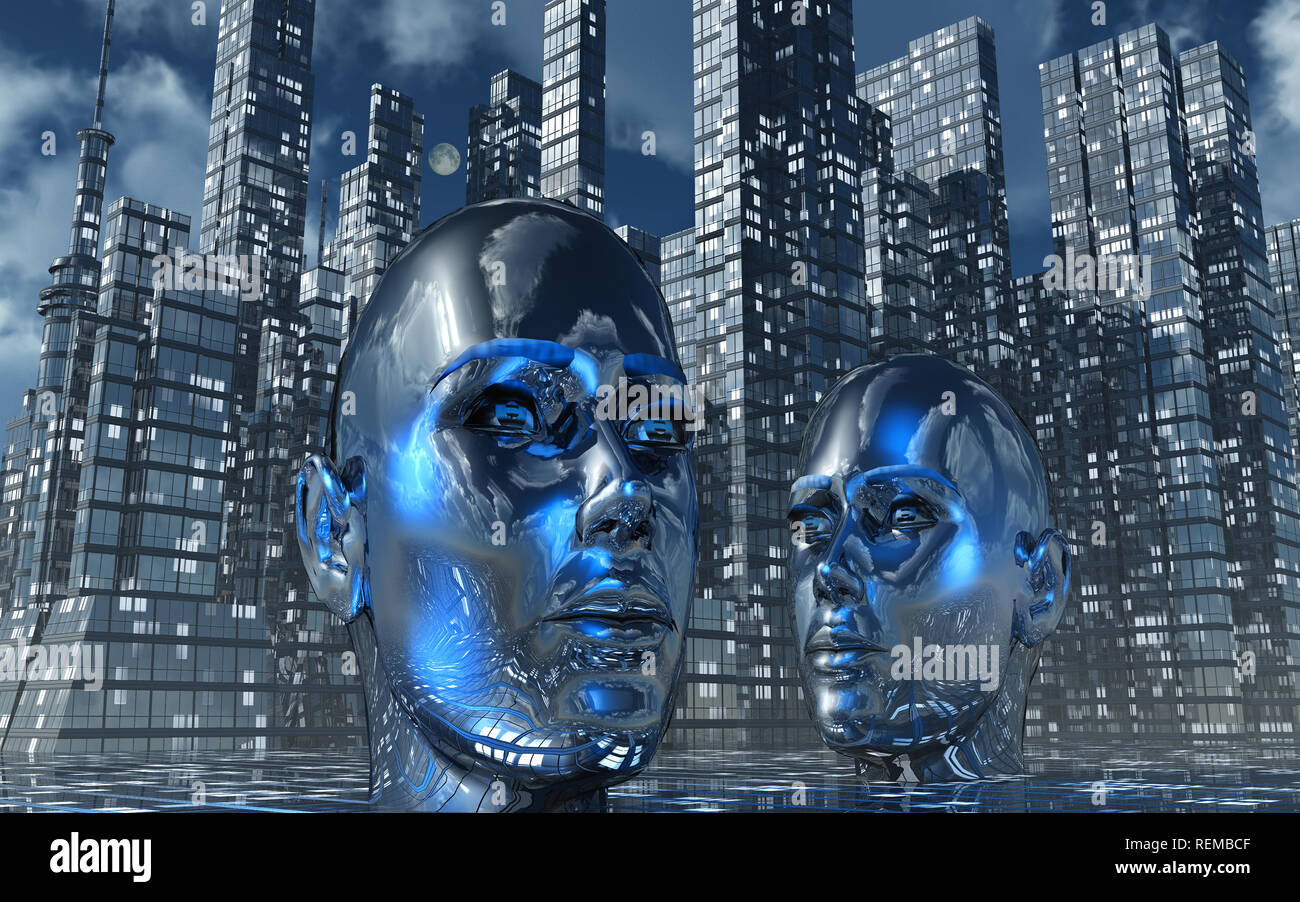 A City Controlled By Artificial Intelligence - Stock Image