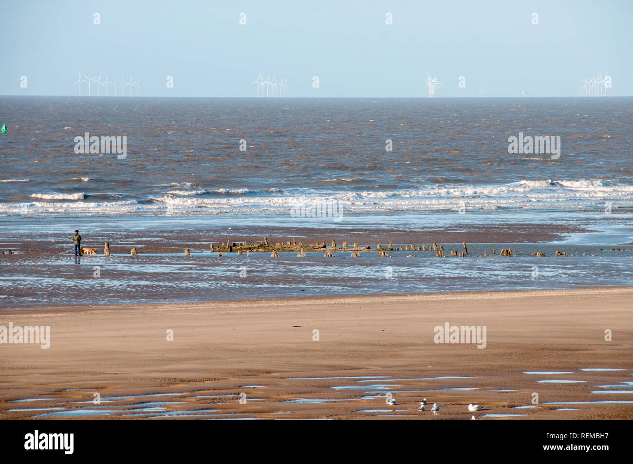 The remains of the SS Abana on Blackpool beach. - Stock Image