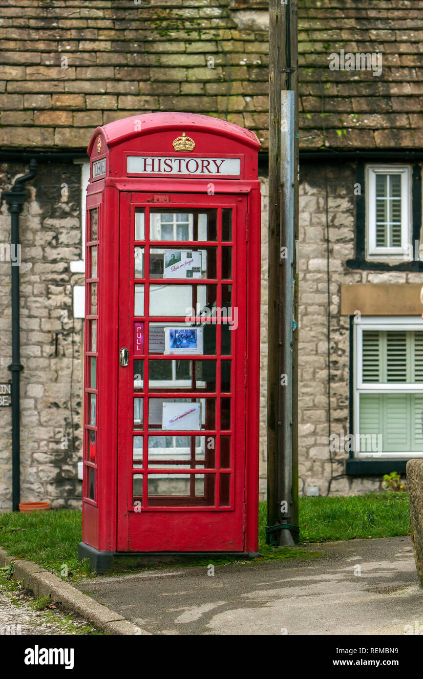 Oral History Public Telephone Box, Tideswell, Derbyshire - Stock Image