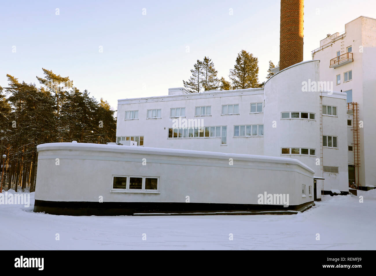 Paimio Sanatorium, the kitchen and maintenance wing. Designed by Finnish architect Alvar Aalto, completed in 1933. Paimio, Finland. January 20, 2019. - Stock Image