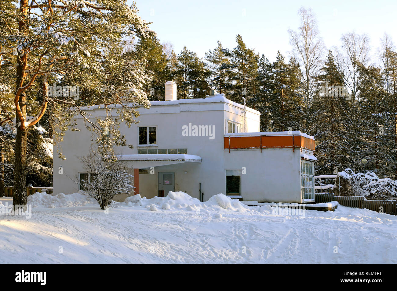 Paimio Sanatorium, former head physician's house, currently kindergarten. Designed by Alvar Aalto, completed 1933. Paimio, Finland. January 20, 2019. - Stock Image