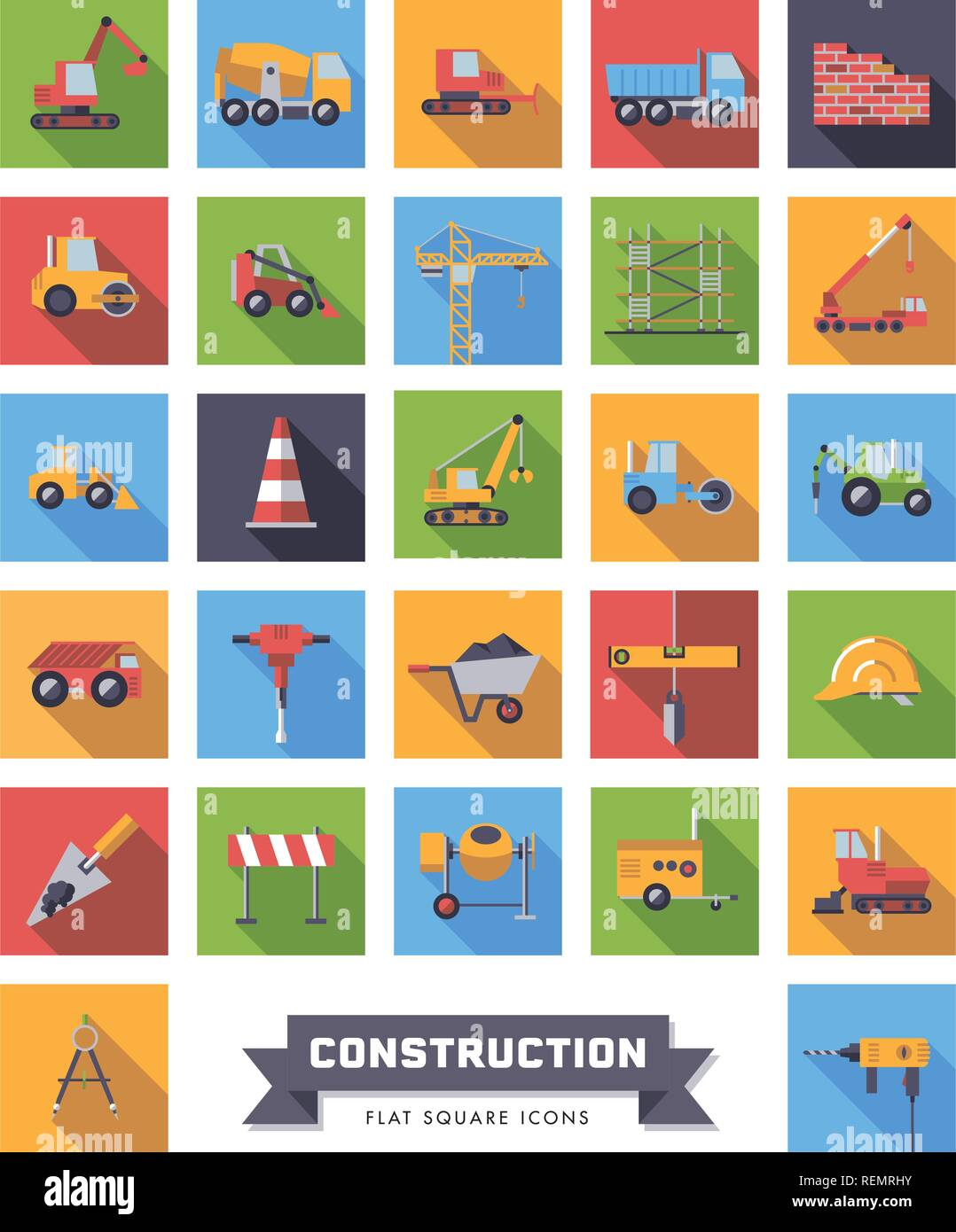 Flat design long shadow square construction industry and tools vector icons set - Stock Vector