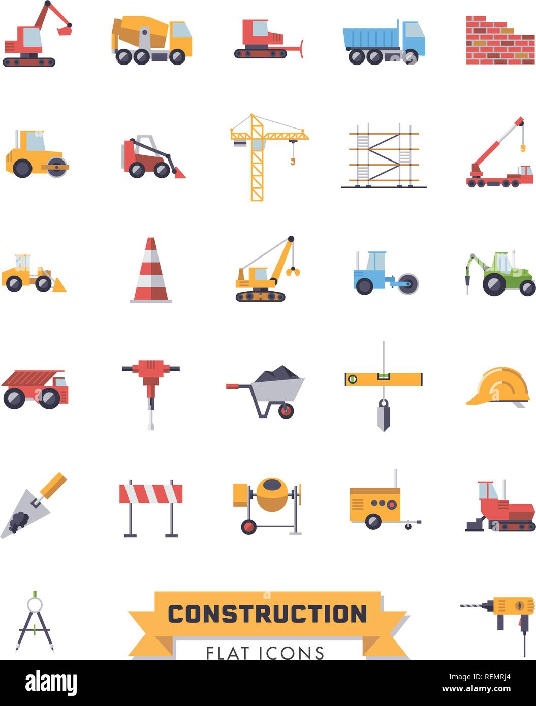 Flat design isolated construction industry and tools vector icons set - Stock Vector