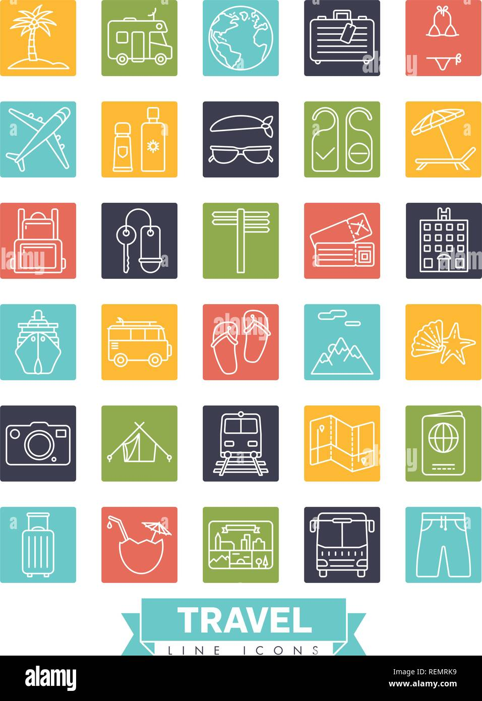 Square summer holidays and global travel line icon collection - Stock Vector