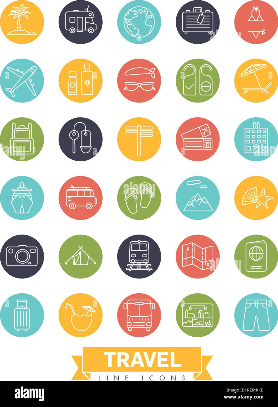 Summer holidays and global travel round line icon collection - Stock Vector