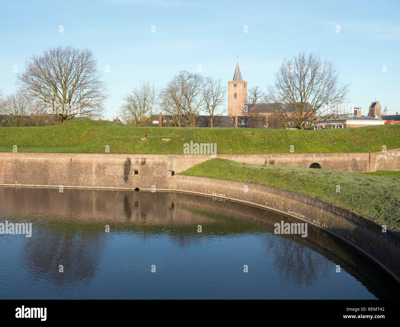 large church of naarden vesting in the netherlands seen from the fortifications around the old town - Stock Image