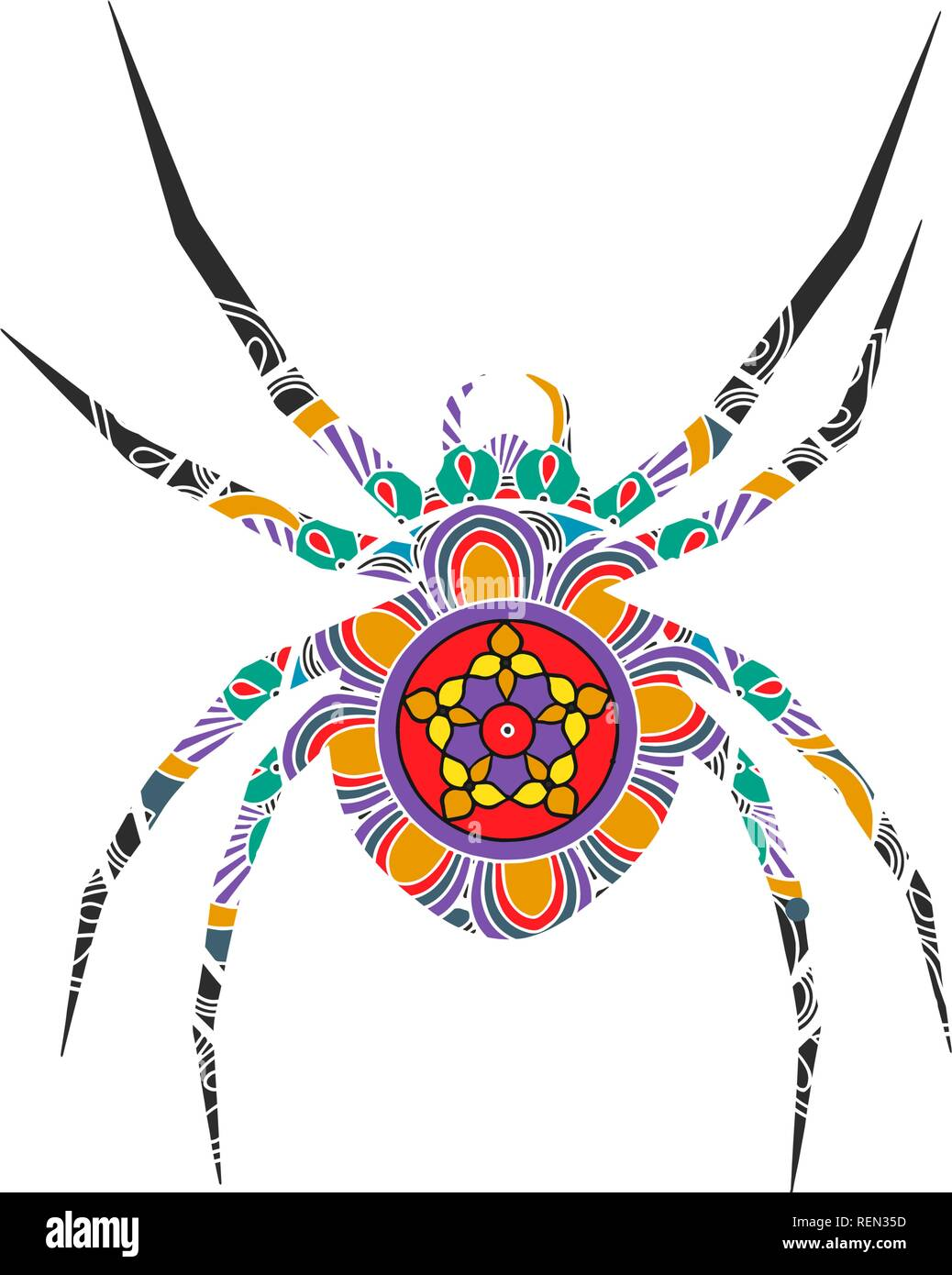 Hand Drawn Outline Doodle Spider Illustration Decorated With Zentangle Ornaments Drawing For Halloween Stock Vector Image Art Alamy
