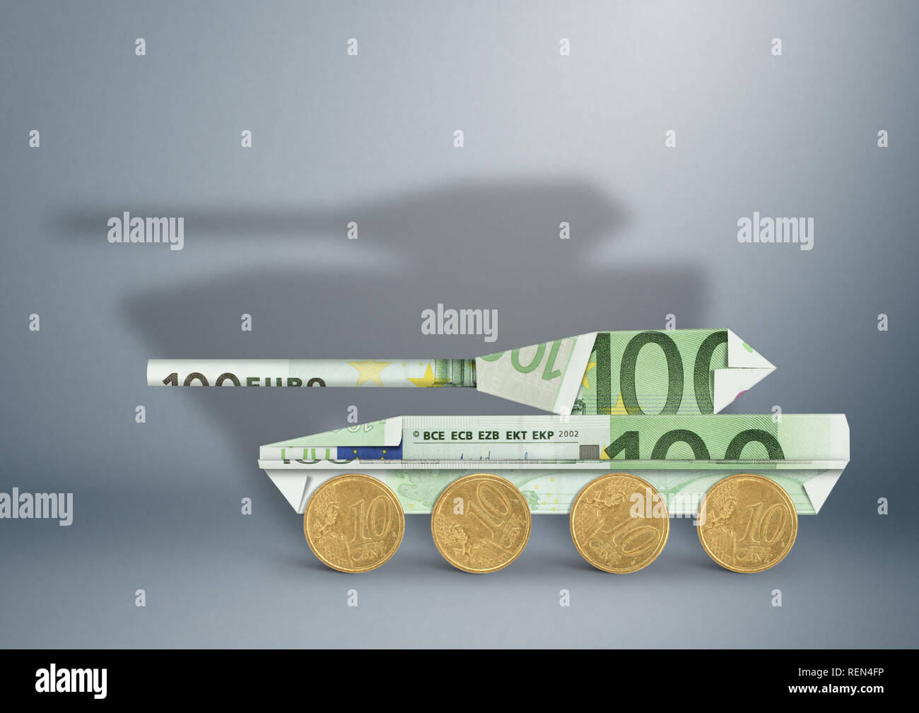 weapon budget concept, money as  military tank Stock Photo