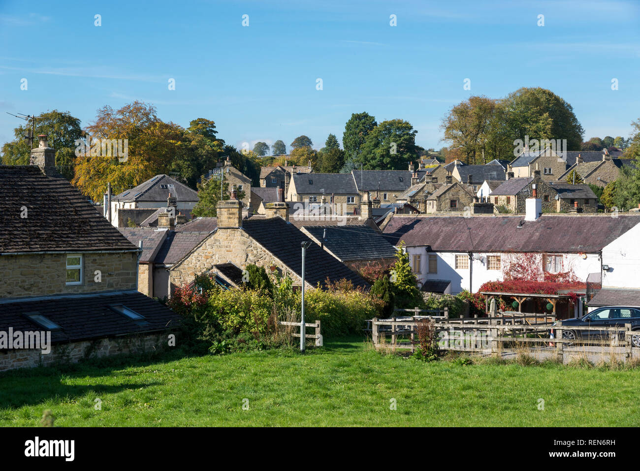 The village of Eyam in the Peak District, Derbyshire, England. - Stock Image