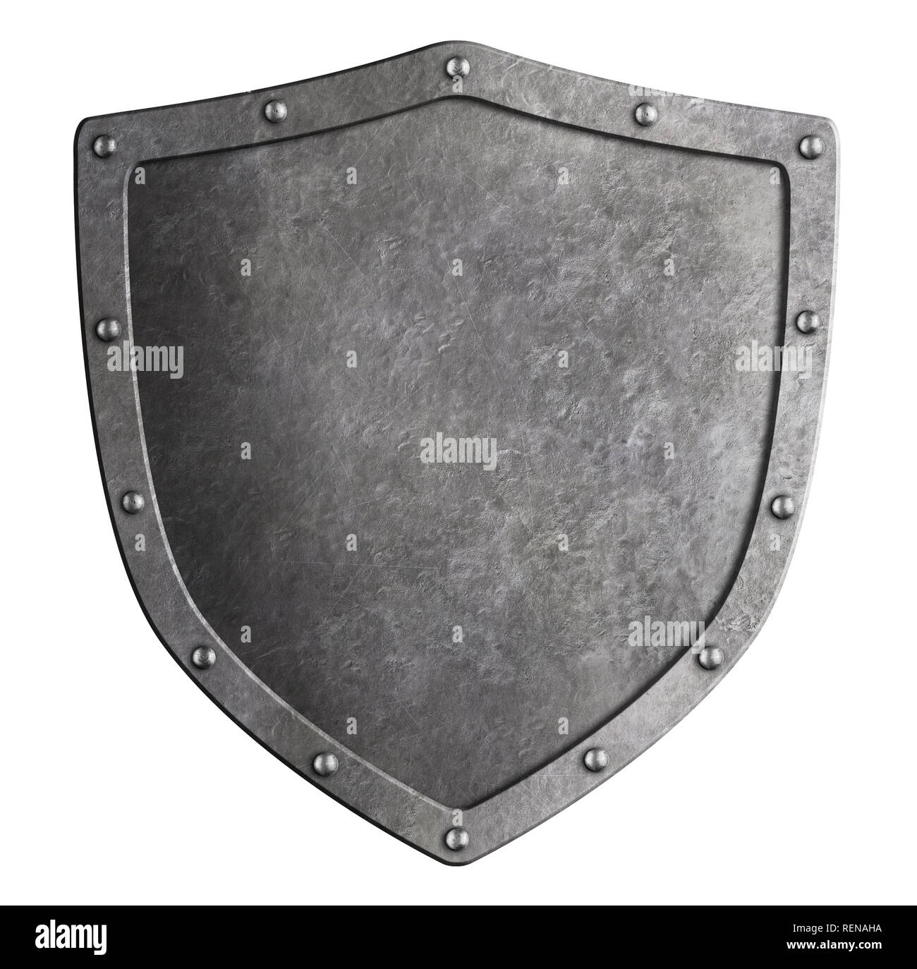 Classical metal shield isolated 3d illustration - Stock Image