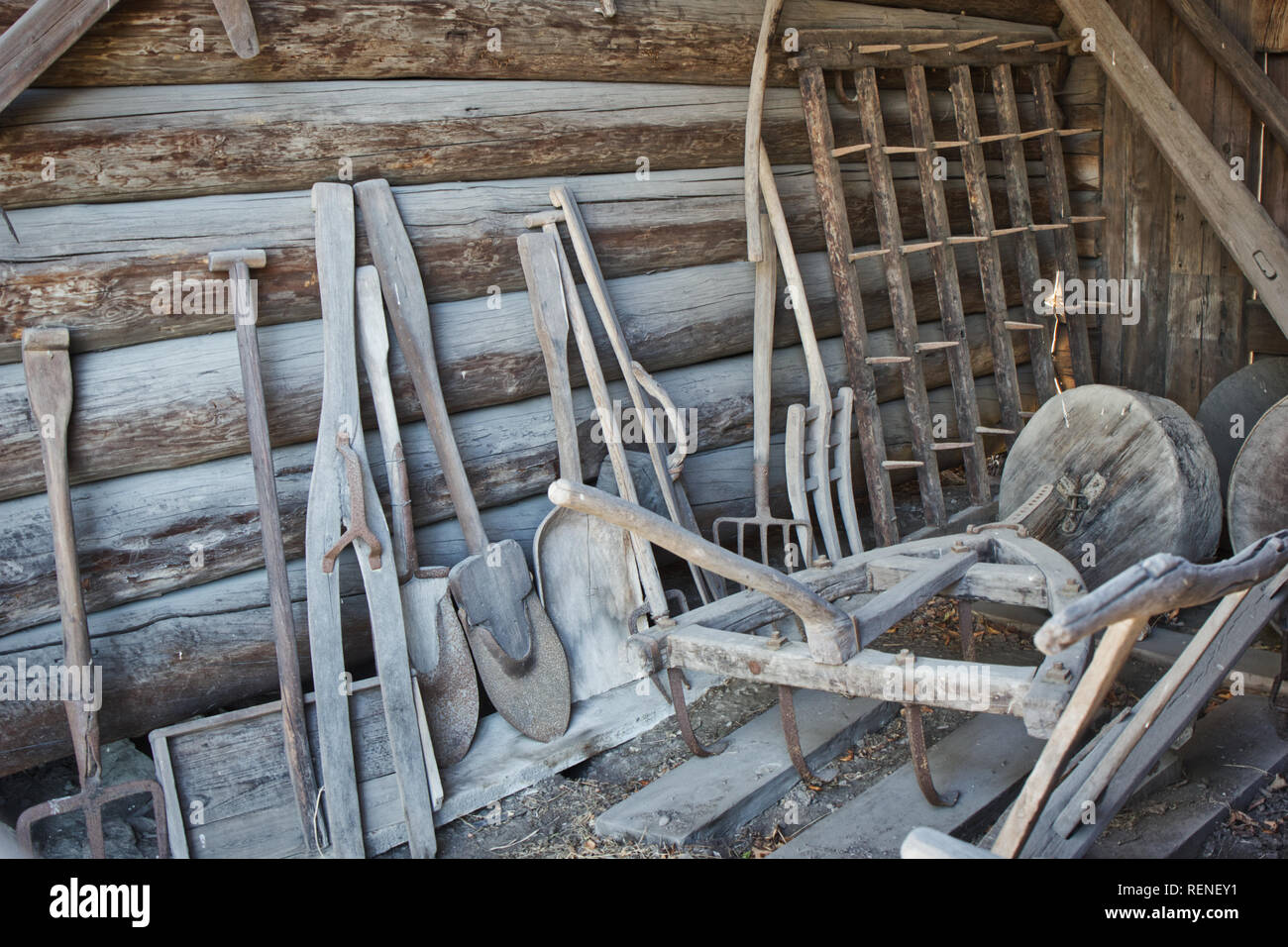 Farming implements and tools in storehouse, Alvros Farmstead, Skansen open-air museum, Djurgarden, Stockholm, Sweden, Scandinavia - Stock Image