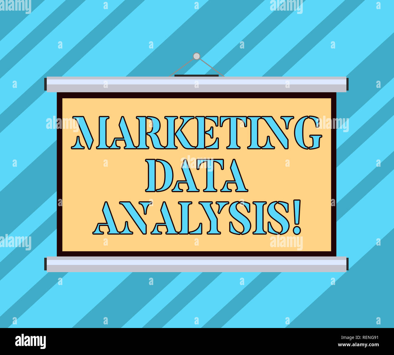 Text sign showing Marketing Data Analysis. Conceptual photo Collecting data, scrutinized and make a conclusion Blank Portable Wall Hanged Projection S - Stock Image
