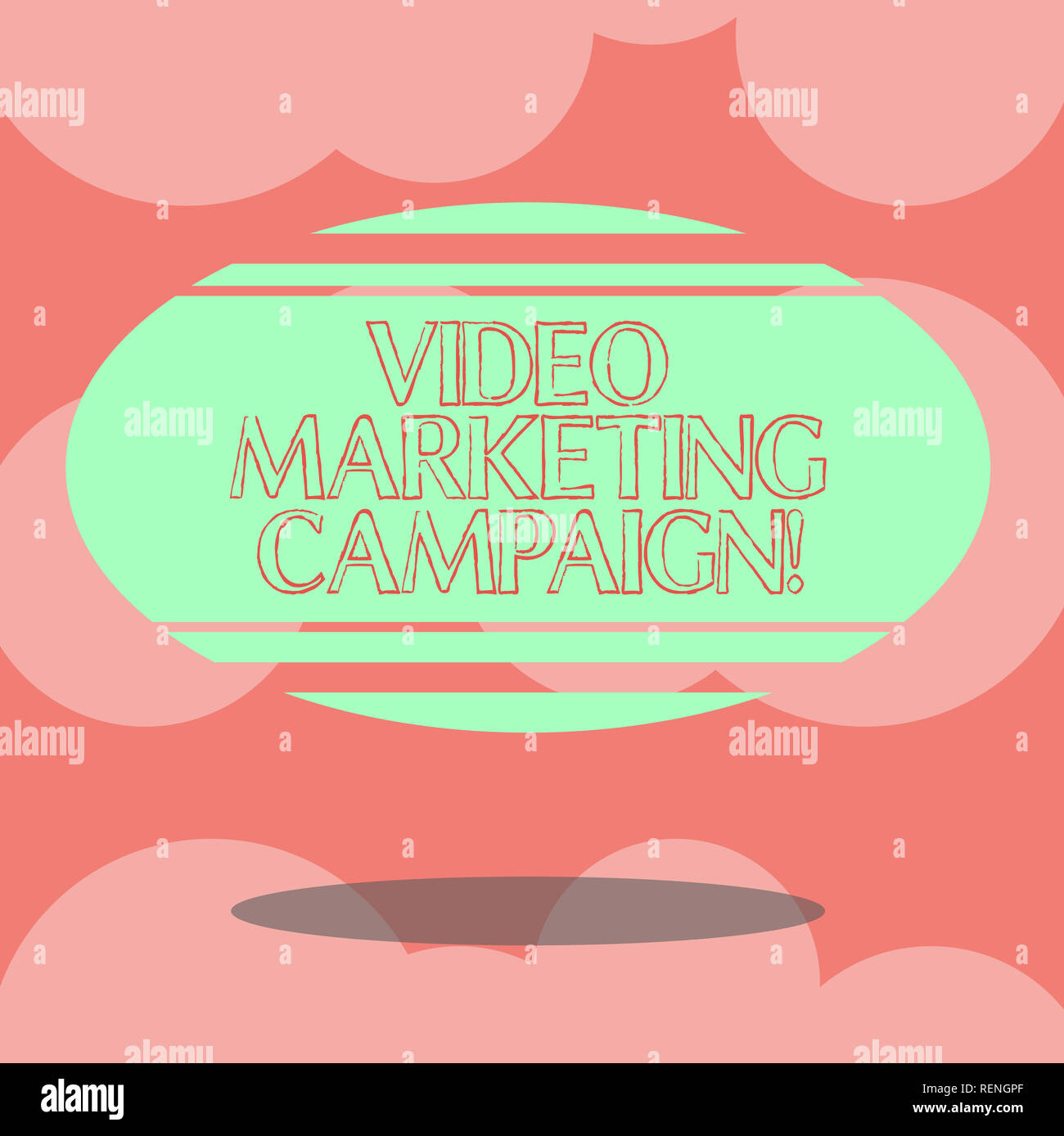 Writing note showing Video Marketing Campaign. Business photo showcasing Assessing the benefit of digital campaign Blank Color Oval Shape with Horizon - Stock Image