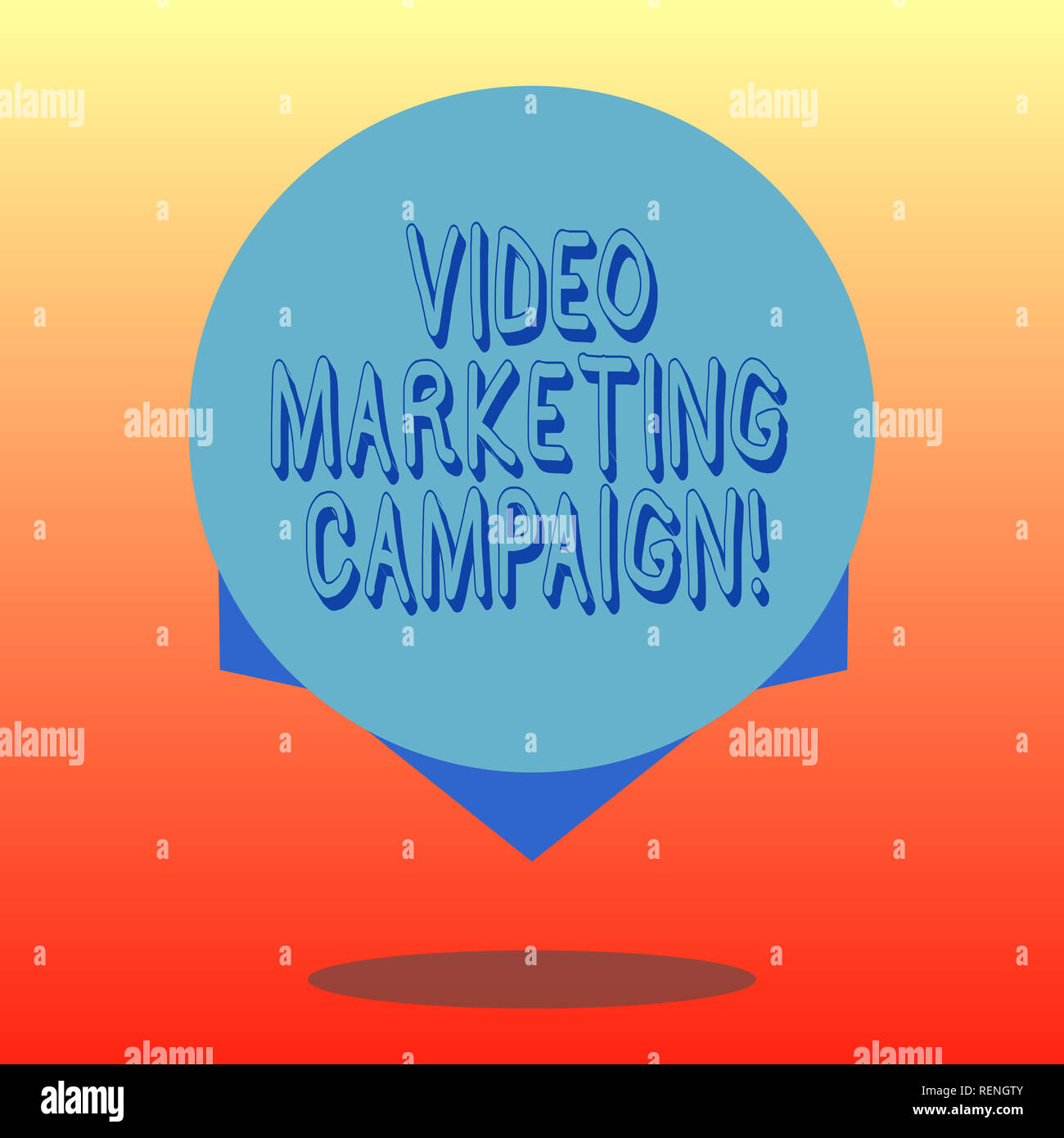 Handwriting text Video Marketing Campaign. Concept meaning Assessing the benefit of digital campaign Blank Color Circle Floating photo with Shadow and - Stock Image