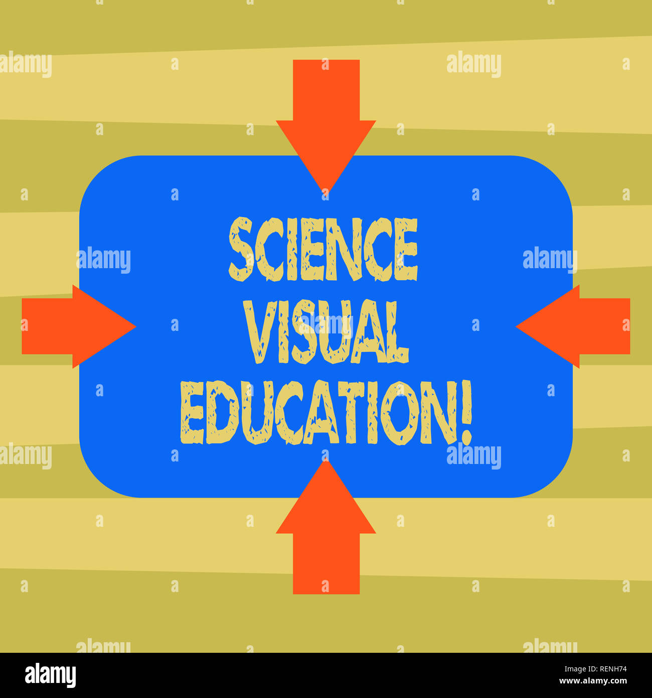 Text sign showing Science Visual Education. Conceptual photo Use infographic to understand ideas and concepts Arrows on Four Sides of Blank Rectangula Stock Photo