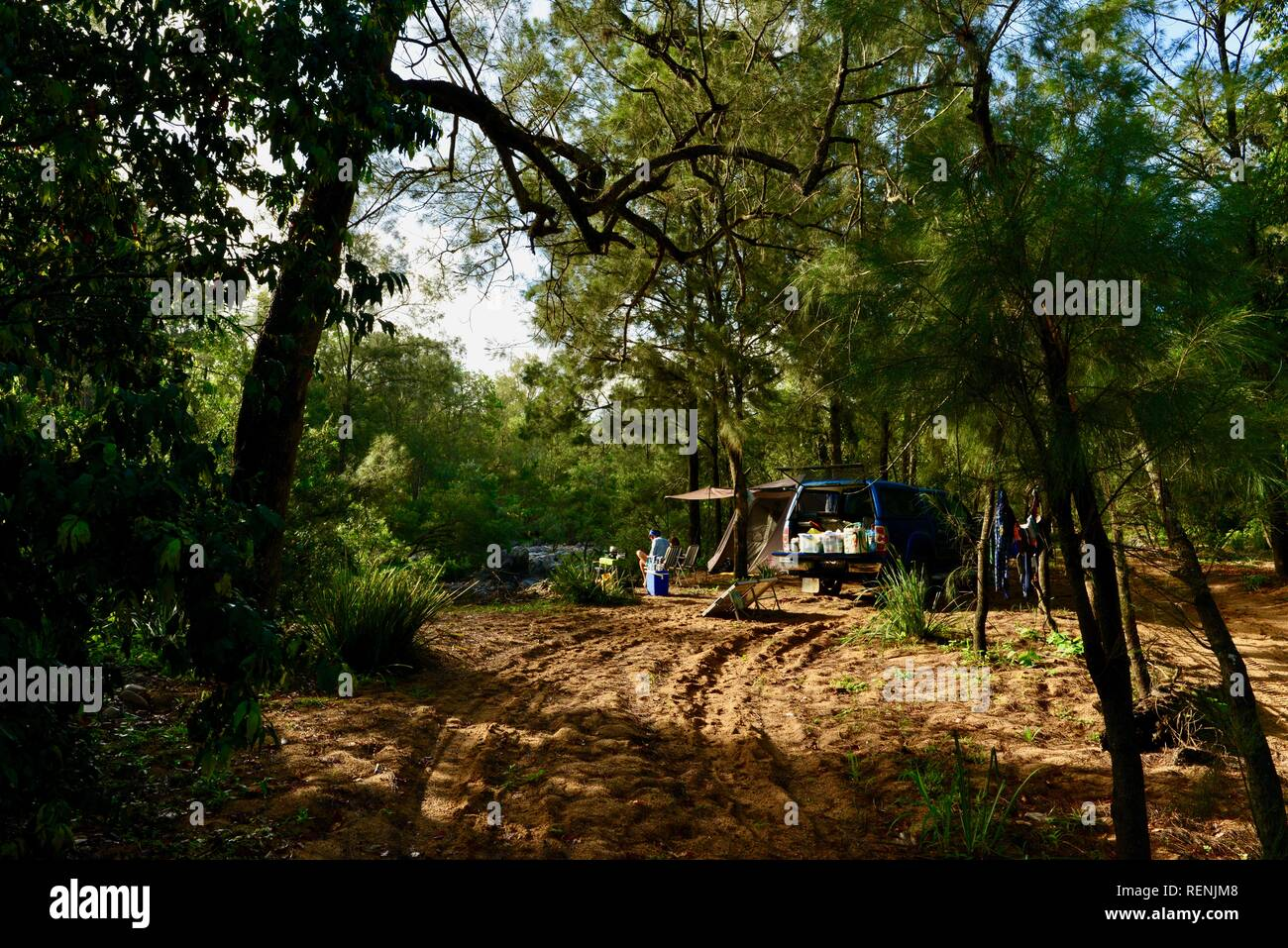 Camping next to Teemburra Creek at Captain's crossing, Mia Mia State Forest, Queensland, Australia - Stock Image