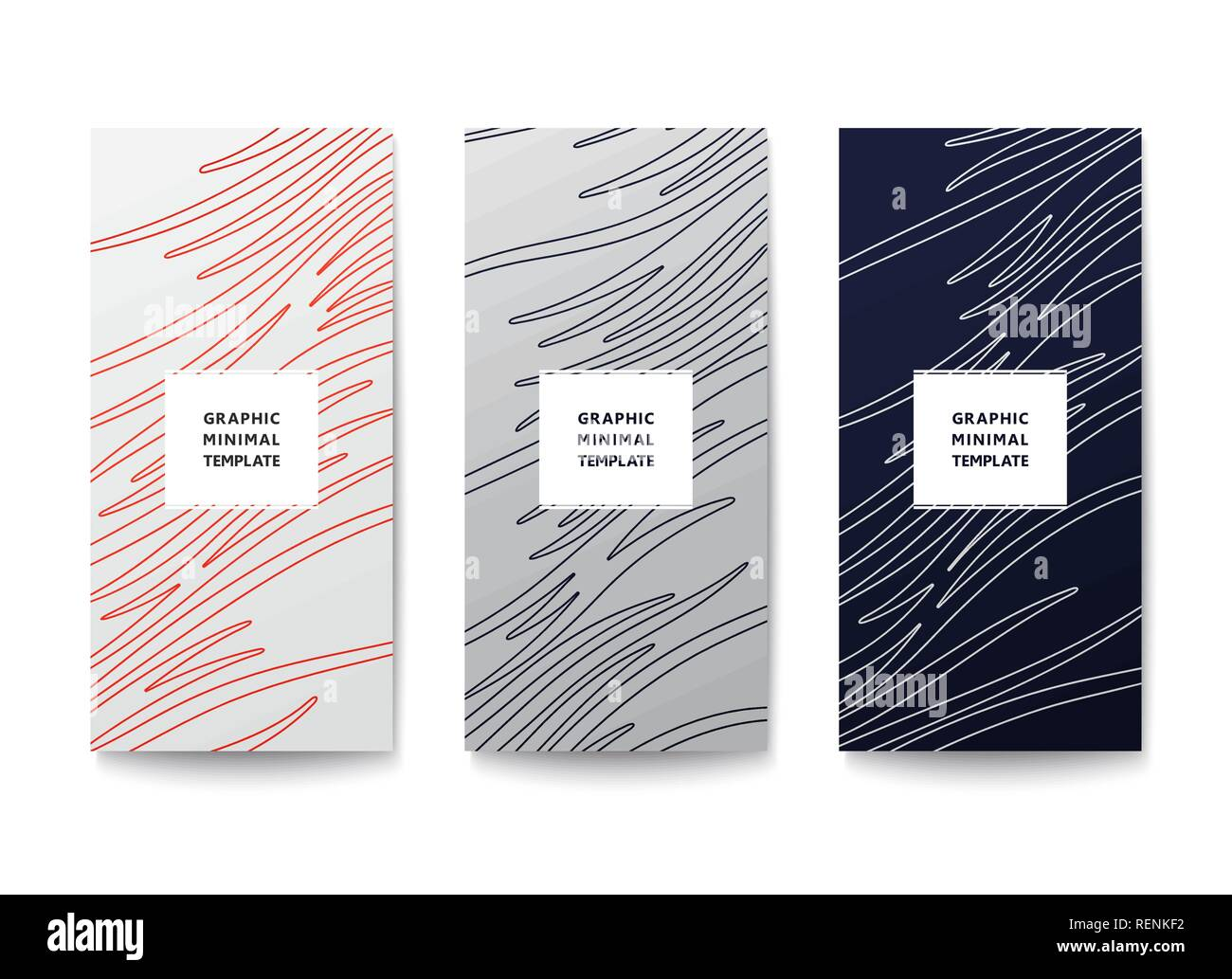 Simple graphic banner with wavy lines pattern. Minimal lineart design. Vector template - Stock Image