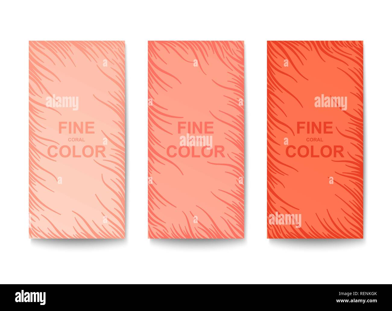 Set of banners in trendy colors. Abstract quirky pattern with wavy sprouts. Vector template - Stock Image